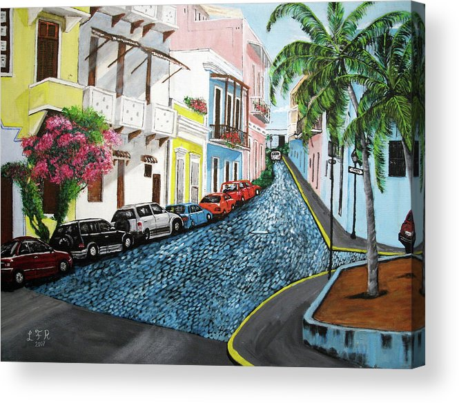 Old San Juan Acrylic Print featuring the painting Colorful Old San Juan by Luis F Rodriguez