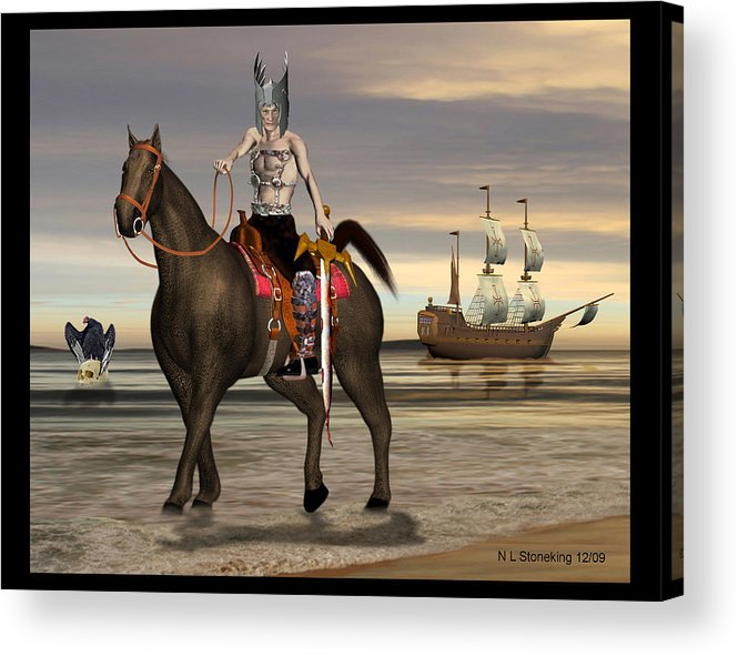 Abstract Acrylic Print featuring the digital art Conquistador by Norman Stoneking