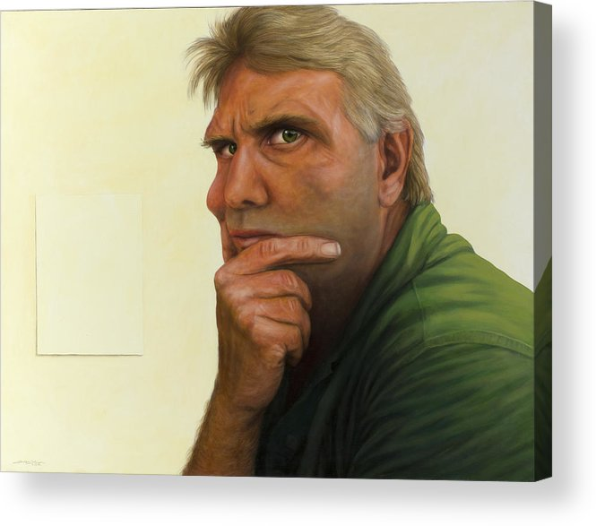 Contemplation Acrylic Print featuring the painting Contemplating The Blank Page by James W Johnson