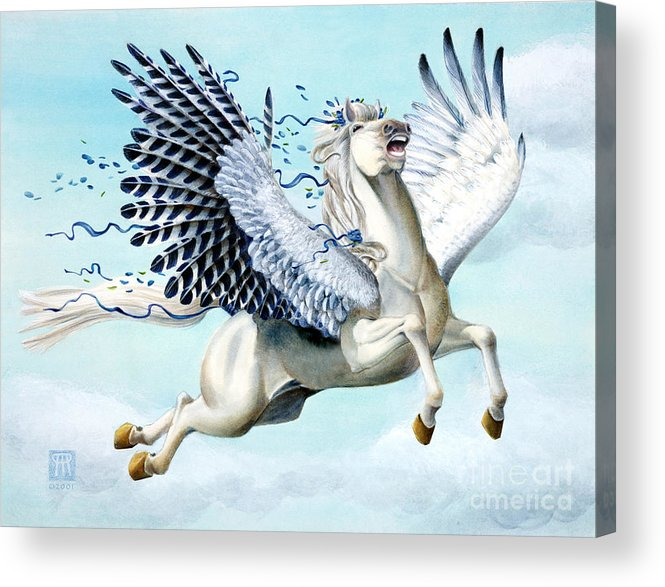 Artwork Acrylic Print featuring the painting Cory Pegasus by Melissa A Benson