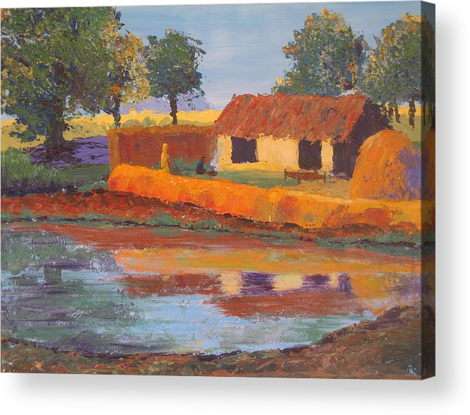 Cottage Acrylic Print featuring the painting Cottage By The Pond by Art Nomad Sandra Hansen