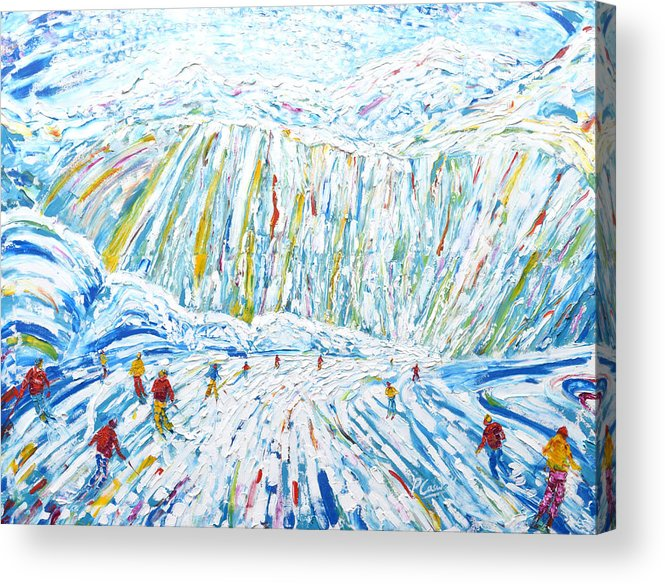 Courchevel Acrylic Print featuring the painting Courchevel Creux Piste by Pete Caswell
