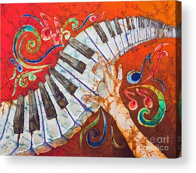 Piano Acrylic Print featuring the tapestry - textile Crazy Fingers - Piano Keyboard by Sue Duda