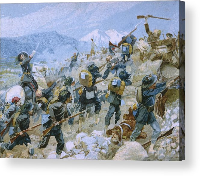 Male; Soldier; Soldiers; Army; Uniform; Military; Fighting; Infantry; Rider; Bayonet; Charge; Horse; Horseback; Riding; Nationalist; Nationalists; Italian Unification; War Of Independence Acrylic Print featuring the painting Crimean War And The Battle Of Chernaya by Italian School