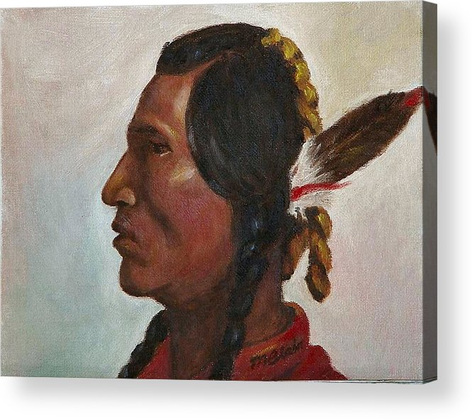 Native American Acrylic Print featuring the painting Crow Warrior by Merle Blair