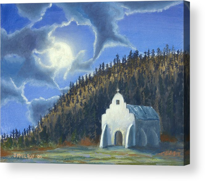 Landscape Acrylic Print featuring the painting Dancing In The Moonlight by Jerry McElroy