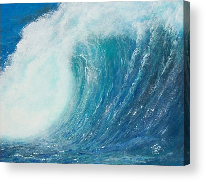 Seascape Acrylic Print featuring the painting Danger No Surfing by Tony Rodriguez