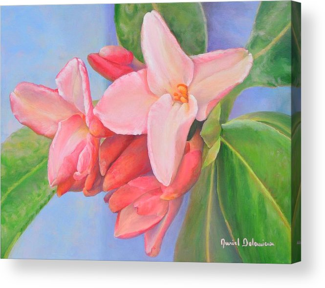 Floral Painting Acrylic Print featuring the painting Daphne by Muriel Dolemieux