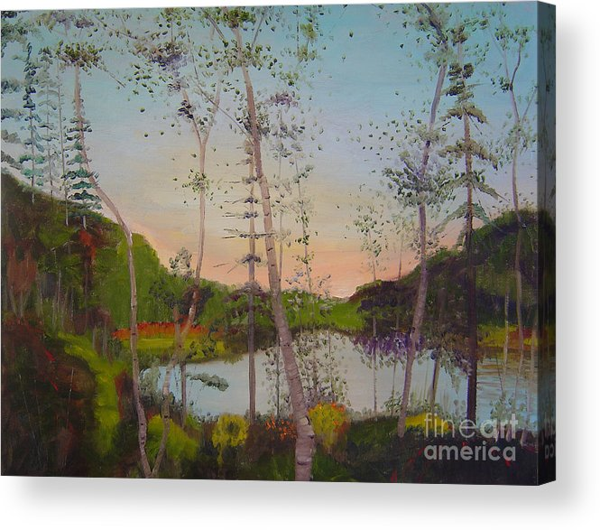 Landscape Acrylic Print featuring the painting Dawn By The Pond by Lilibeth Andre