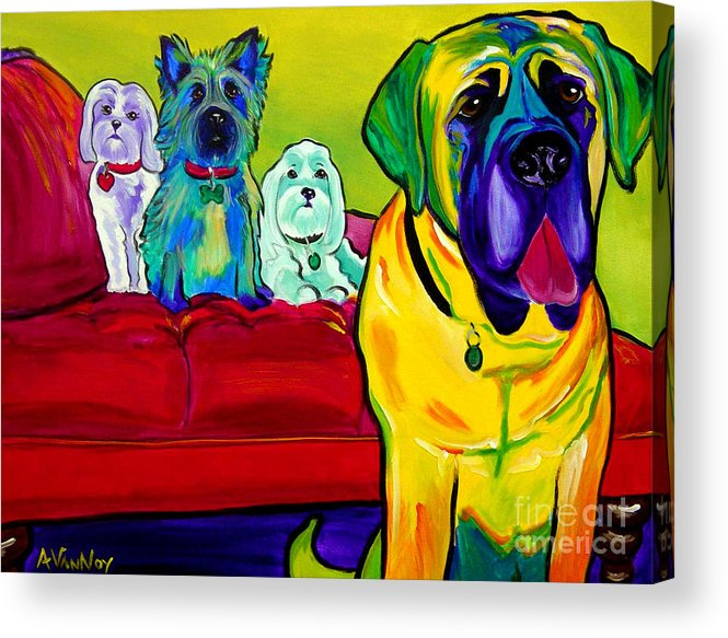 Dog Acrylic Print featuring the painting Dogs - Droolers Get The Floor by Alicia VanNoy Call