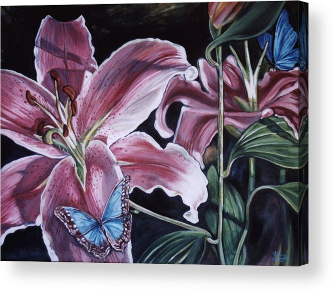 Floral Acrylic Print featuring the painting Donna's Flowers by Diann Baggett