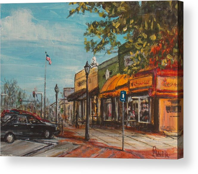 Cityscape Acrylic Print featuring the painting Downtown by Pete Maier