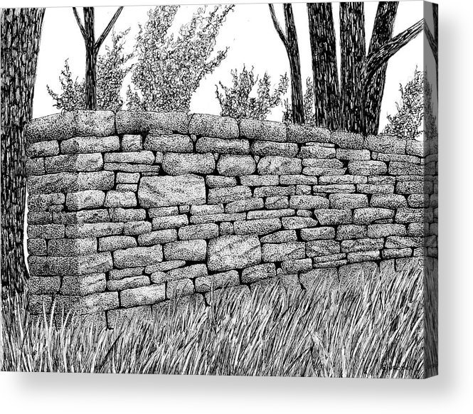 Dry Stone Wall Acrylic Print featuring the drawing Dry Stone Wall by Ed Einboden