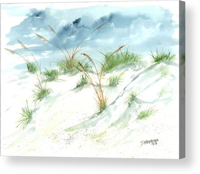 Beach Acrylic Print featuring the painting Dunes 3 Seascape Beach Painting Print by Derek Mccrea