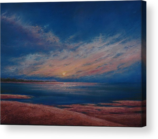 Dark Dusk Acrylic Print featuring the pastel Dusk Over Distant Ocean City by Deb Spinella
