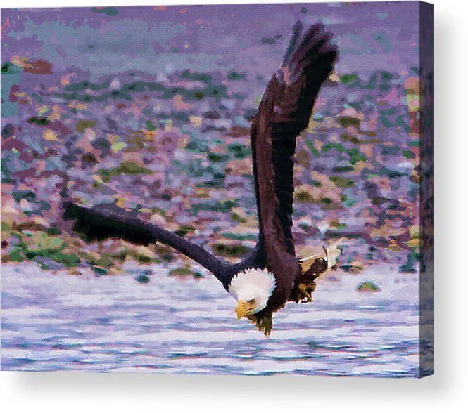 Eagles Acrylic Print featuring the painting Eagle On A Mission by Clarence Alford