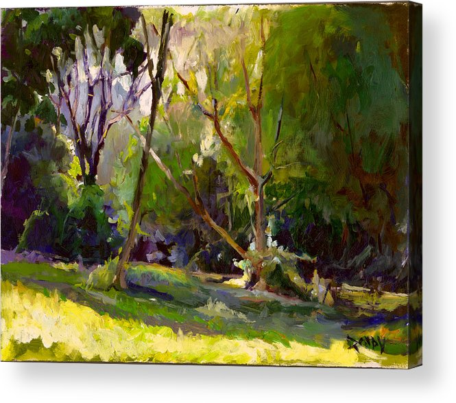 Landscape Acrylic Print featuring the painting Early Summer Morning by Stuart Roddy