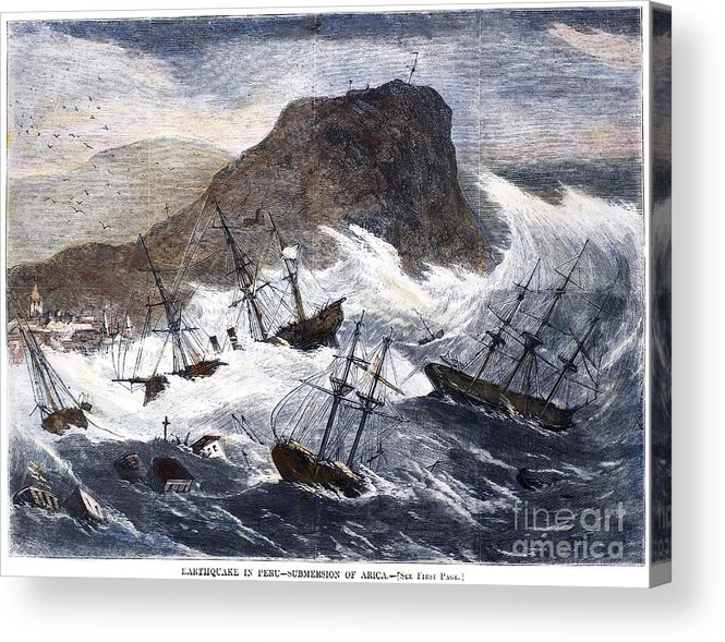 1868 Acrylic Print featuring the photograph Earthquake And Tidal Wave by Granger
