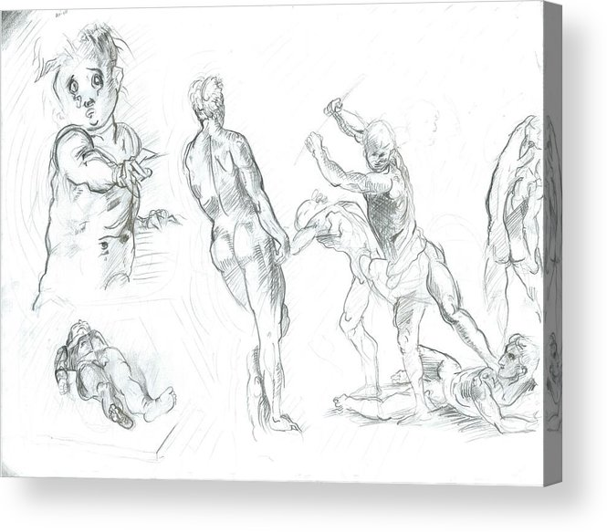 Acrylic Print featuring the drawing Exercise by Joseph Arico