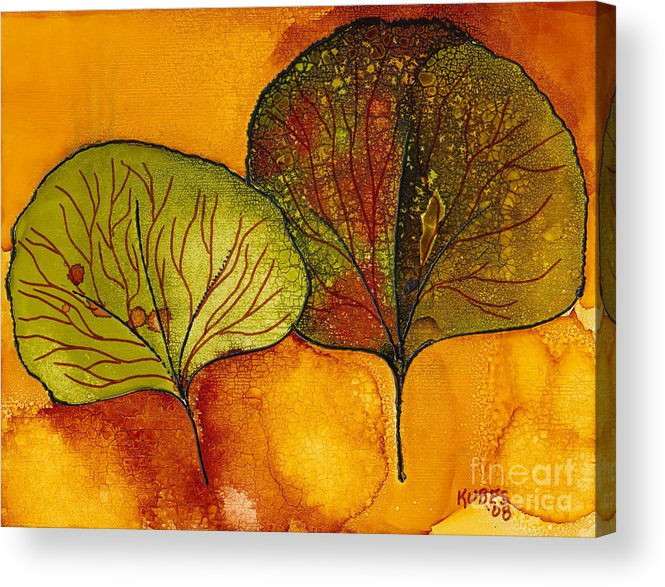 Leaf Acrylic Print featuring the painting Fall Leaves by Susan Kubes