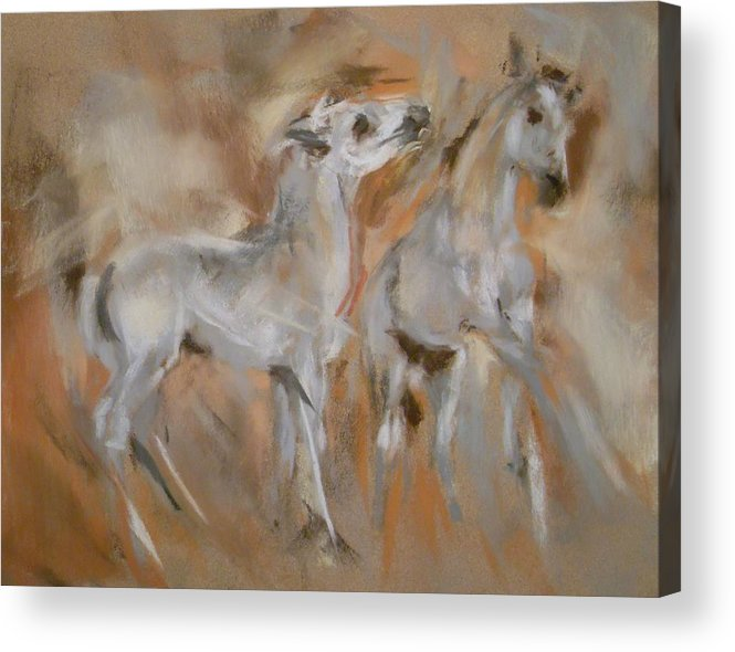 Mustang Acrylic Print featuring the painting Feels Good To Play by Debbie Anderson
