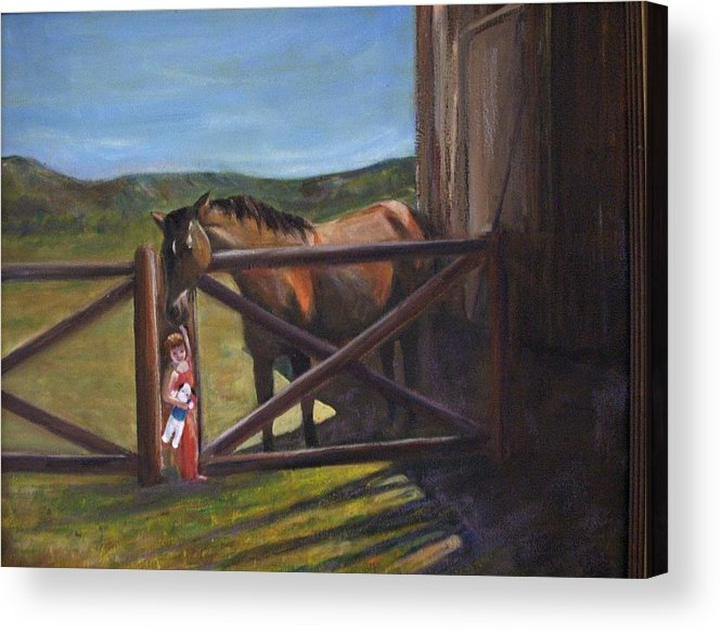 Horse Acrylic Print featuring the painting First Love by Darla Joy Johnson