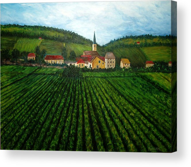Acrylic Acrylic Print featuring the painting French Village In The Vineyards by Nancy Mueller
