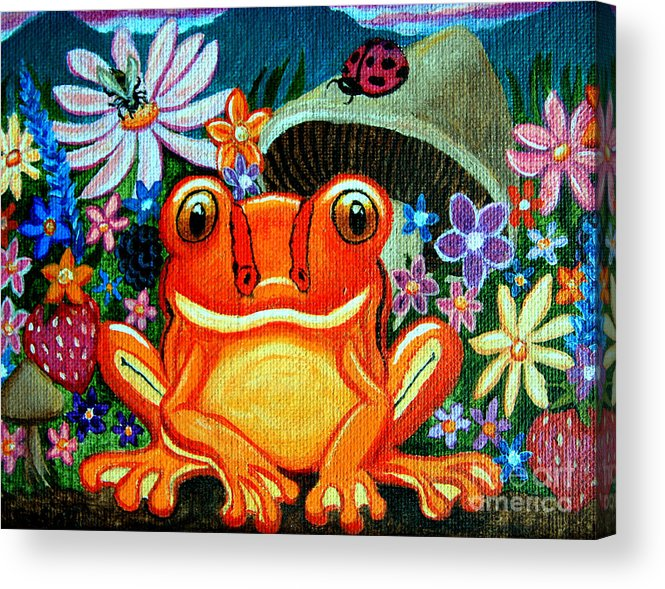 Frogs Acrylic Print featuring the painting Frog And Flowers by Nick Gustafson
