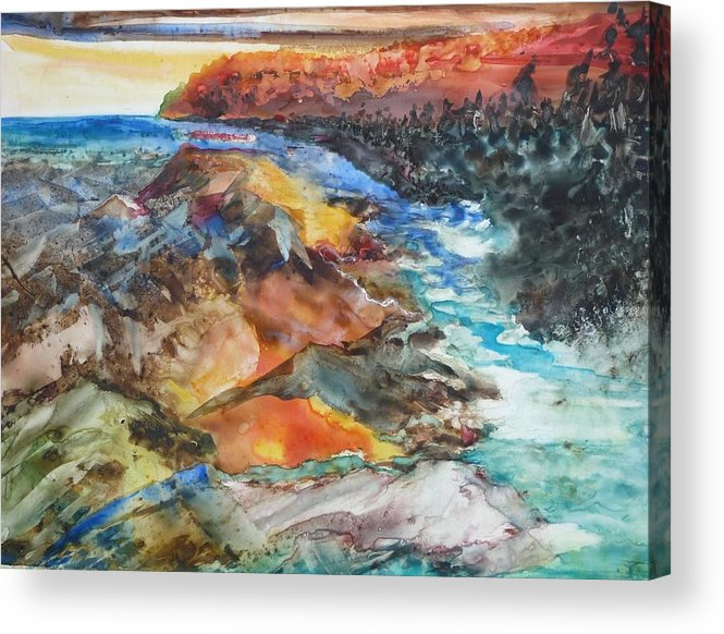 Abstract Acrylic Print featuring the painting Glacial Meltdown by Ruth Kamenev