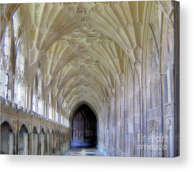 Gloucester Acrylic Print featuring the photograph Gloucester Cathedral Cloisters by Nigel Fletcher-Jones