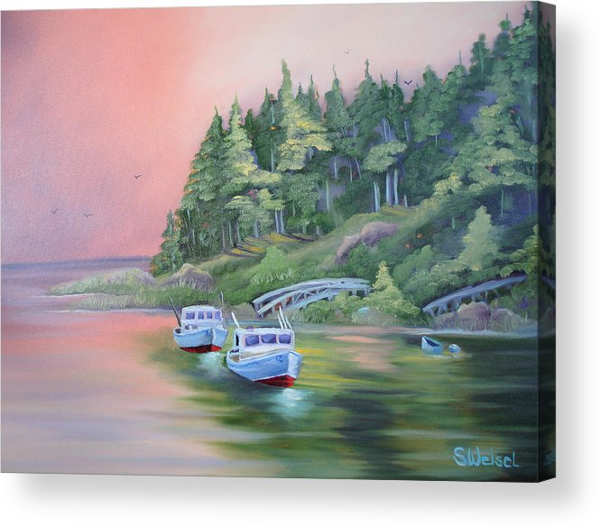 Boat Fish Pond Lake Ocean Sea Tree Bridge Landscape Water Scape Dingy Orange Purple Red Blue Cream Acrylic Print featuring the painting Goin Fishin by Sherry Winkler