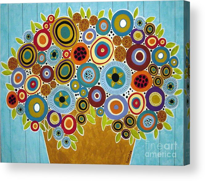 Flowers Acrylic Print featuring the painting Golden Pot Of Blooms by Karla Gerard