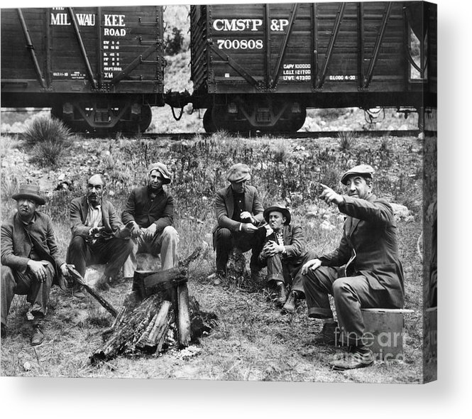 1920s Acrylic Print featuring the photograph Group Of Hoboes, 1920s by Granger