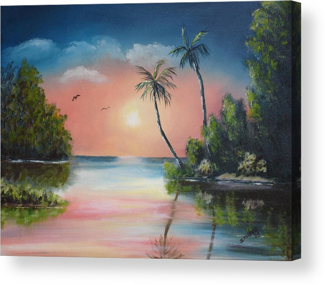 Sunset Acrylic Print featuring the painting Gulf Coast Sunset by Susan Kubes
