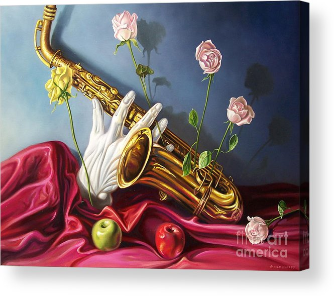 Still Life Acrylic Print featuring the painting Hand And Sax by Arnold Hurley