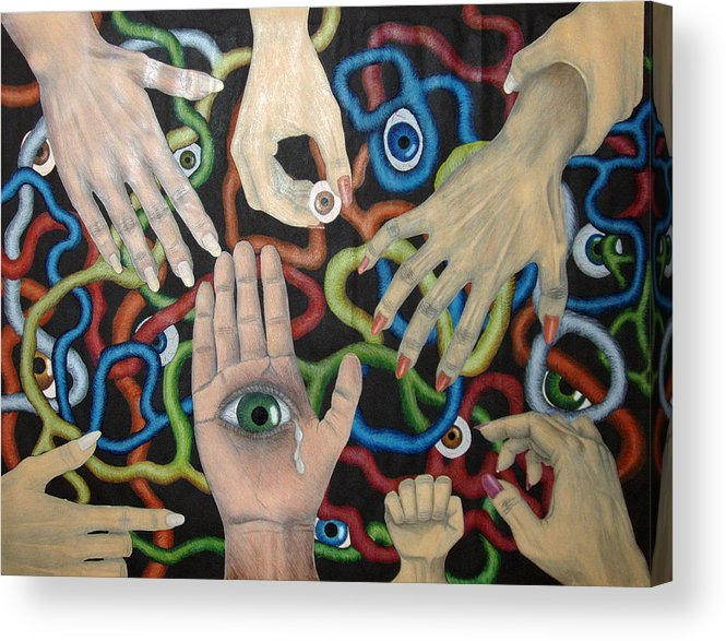 Collage Acrylic Print featuring the drawing Hands And Eyes by Nancy Mueller