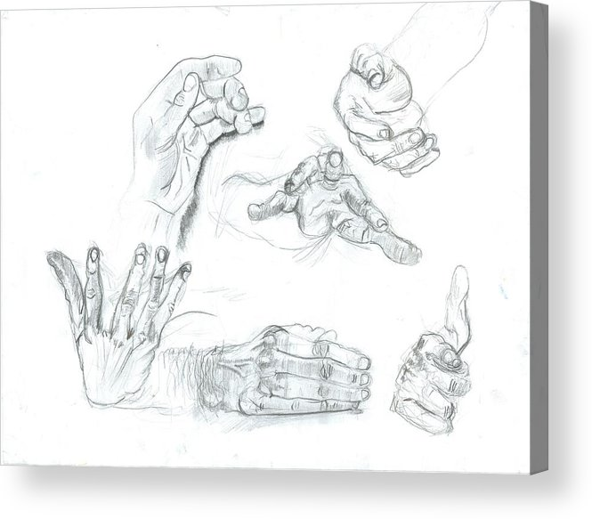 Acrylic Print featuring the drawing Hands by Joseph Arico