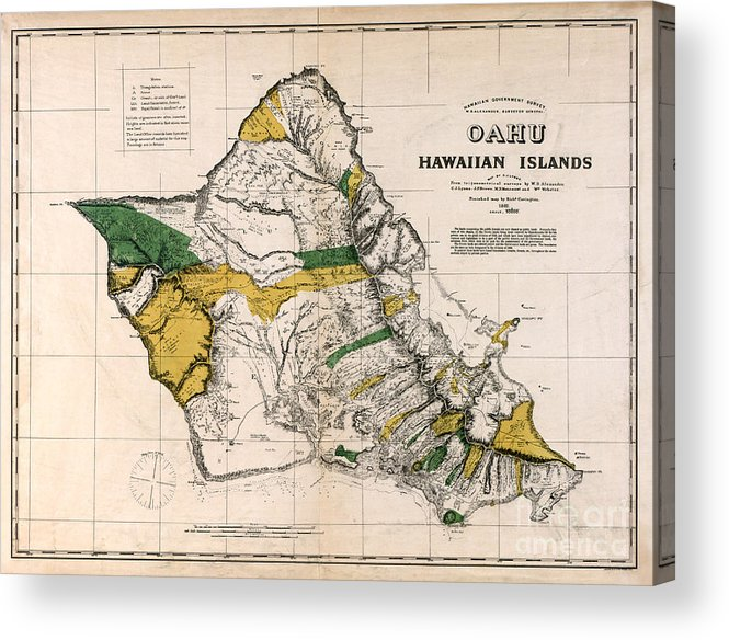 Hawaiian Islands Map 1881 Acrylic Print featuring the photograph Hawaiian Islands Map 1881 by Jon Neidert