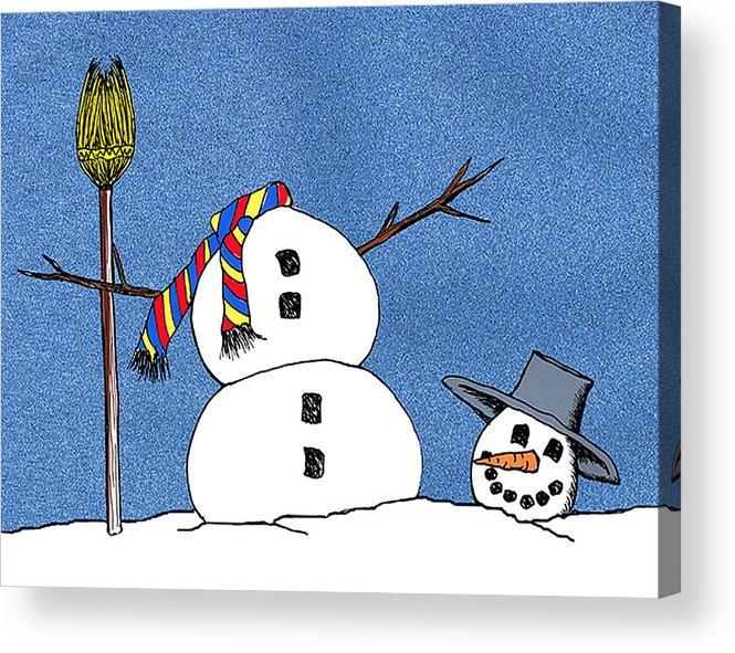 Snowman Acrylic Print featuring the digital art Headless Snowman by Nancy Mueller
