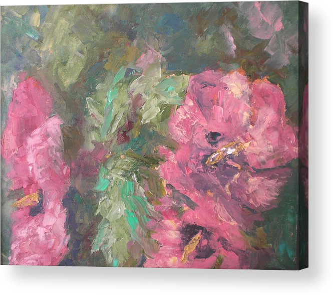 Oil Acrylic Print featuring the painting Hibiscus by Lou Ewers