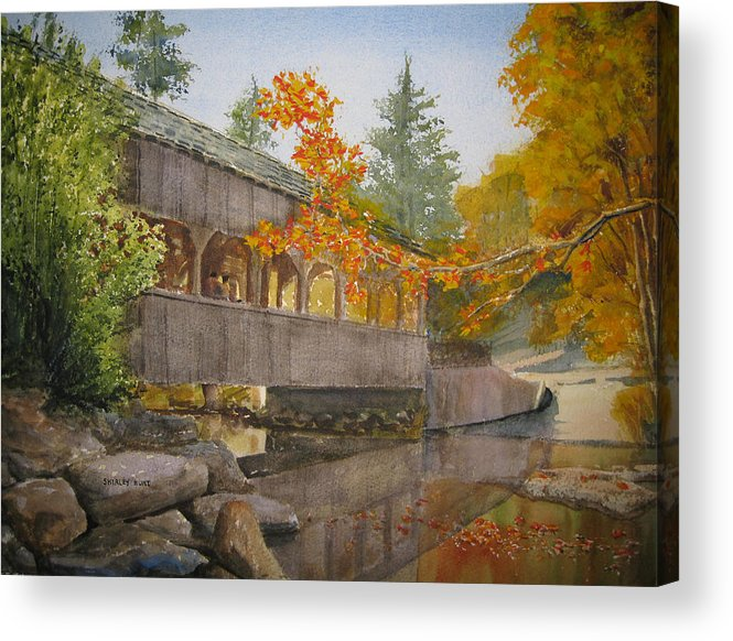 High Falls Acrylic Print featuring the painting High Falls Bridge by Shirley Braithwaite Hunt