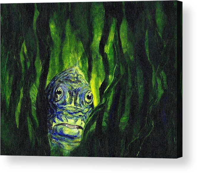 Fish Acrylic Print featuring the painting I Spy by Kathryn Colvig