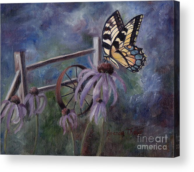 Butterfly Acrylic Print featuring the painting In The Garden by Brenda Thour