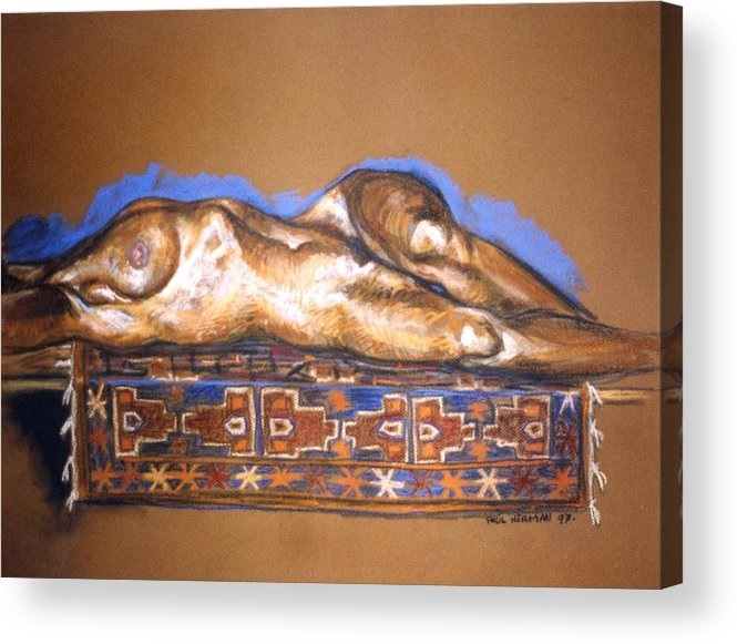 Nude Acrylic Print featuring the painting Isabel On Afghan Carpet by Paul Herman