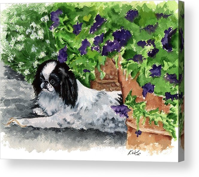 Japanese Chin Acrylic Print featuring the painting Japanese Chin Puppy And Petunias by Kathleen Sepulveda