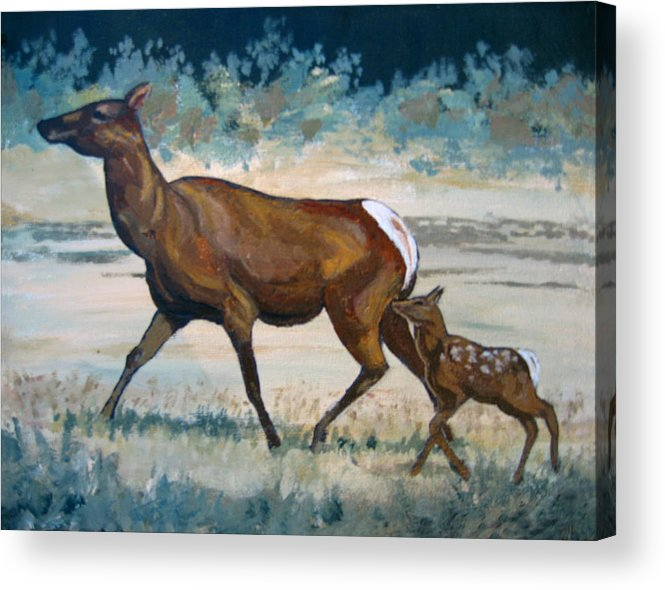 Nature Acrylic Print featuring the painting Keeping Up With Mama by Diane Ellingham