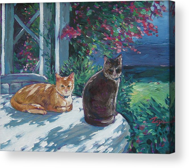 Pet Portraits Acrylic Print featuring the painting Lady And Lucy by Karen Doyle