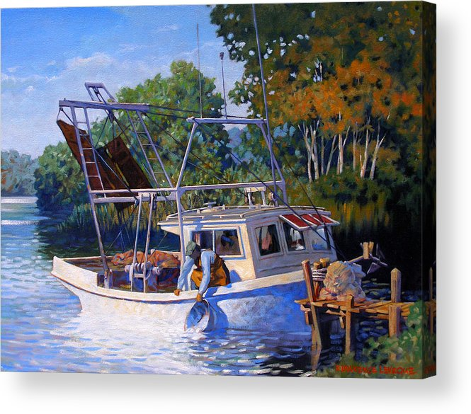 River Acrylic Print featuring the painting Lafitte Skiff by Kevin Lawrence Leveque