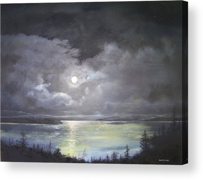 Moonscape Acrylic Print featuring the painting Lake Shore Moonscape by Ken Ahlering