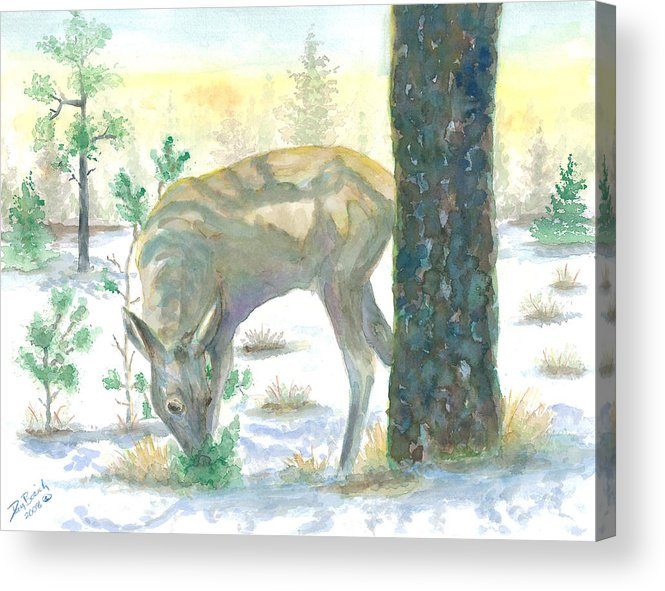 Deer Acrylic Print featuring the painting Last Greens by Dan Bozich